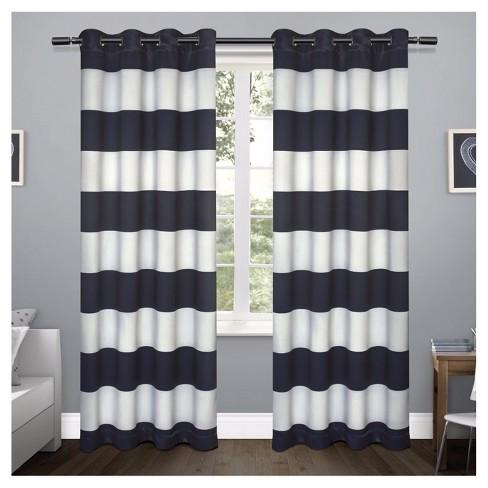 Rugby Stripe Sateen Room Darkening Curtain Panel Set Exclusive