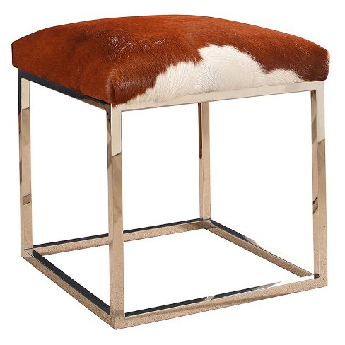 Bessie Cowhide Ottoman - Brown, White - Abbyson - image 1 of 5
