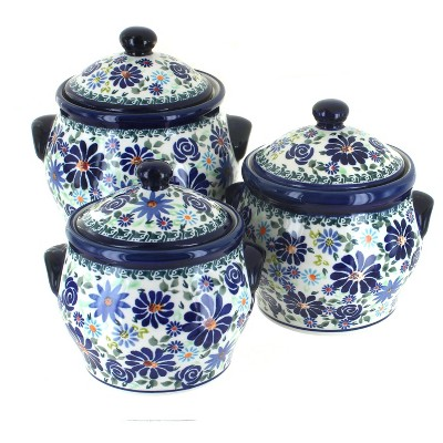 Blue Rose Polish Pottery Fantasy 3PC Canister Set