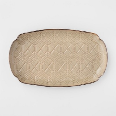 Cravings by Chrissy Teigen 13.75  Oval Stoneware Debossed Platter Tan