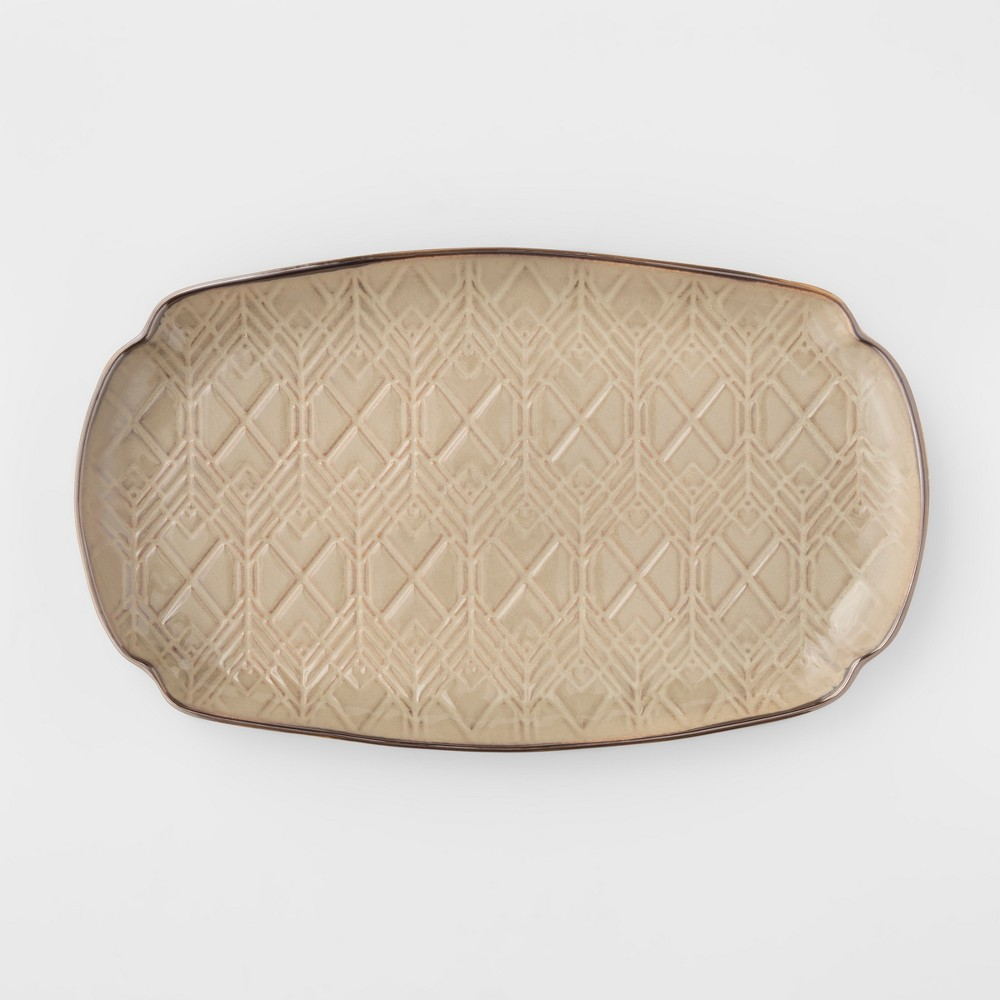 Image of Cravings by Chrissy Teigen 13.75 Oval Stoneware Debossed Platter Tan