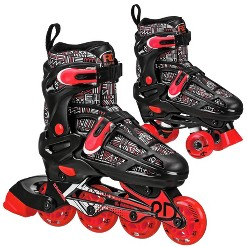 Roller Derby Caspian Boys Adjustable Inline-Quad Combo Skates Size 12-2 - Black, Kids Unisex, Black Red