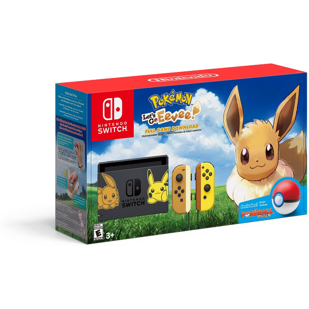 Nintendo Switch Pikachu & Eevee Edition with Pokemon: Let's go Eevee! Bundle Nintendo Switch Pikachu and Eevee Edition with Pokemon: Let's go Eevee! Bundle Color: Black. Gender: unisex.