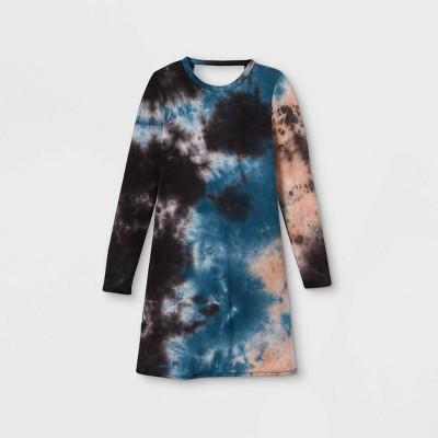 Girls' Tie-Dye Long Sleeve Dress - art class™