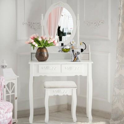 Costway Vanity Wood Makeup Dressing Table Stool 4 Drawers Black/White