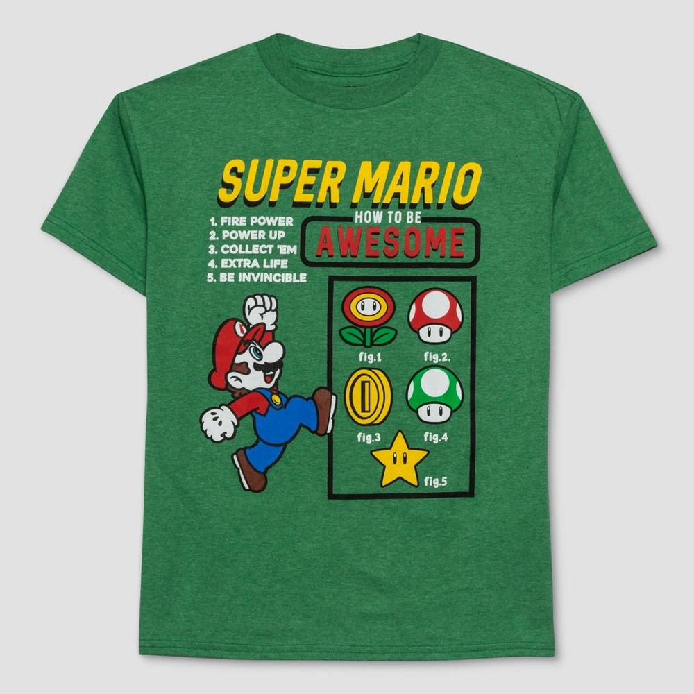 Boys' Super Mario How to be Awesome Short Sleeve T-Shirt - Green S