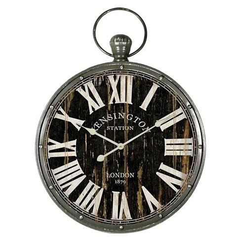 Pocket Watch Wall Clock Distressed Black - Yosemite Home Decor® - image 1 of 1