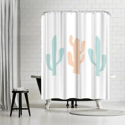 """Americanflat Mint Peach Cactus by Jetty Printables 71"""" x 74"""" Shower Curtain"""