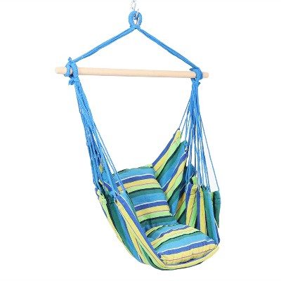 Sunnydaze Double Cushion Hanging Rope Hammock Chair Swing for Backyard and Patio - 265 lb Weight Capacity - Ocean Breeze