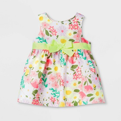 Baby Girls' Floral Bow Dress - Cat & Jack™ 0-3M