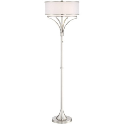 Possini Euro Design Modern Floor Lamp Brushed Nickel Silver Organza White Linen Drum Shade for Living Room Bedroom Office