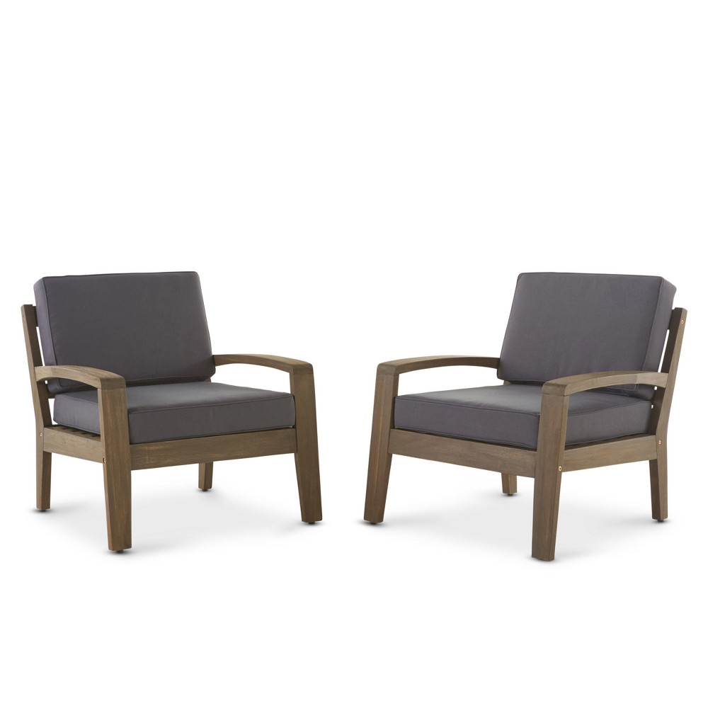 Grenada 2pc Wooden Club Chairs With Cushions - Gray/Dark Gray - Christopher Knight Home