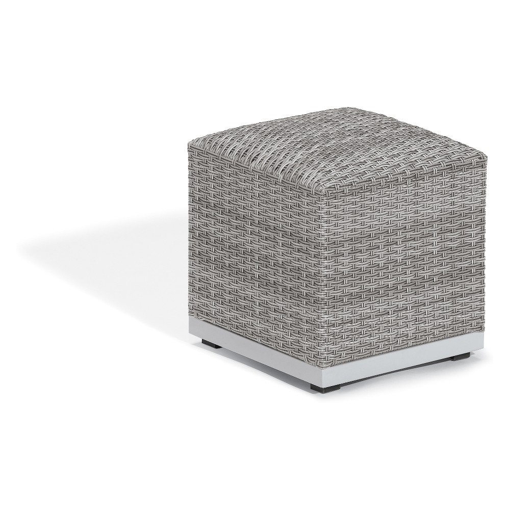 Image of Argento Ottoman Pouf with Resin Wicker and Powder-Coated Aluminum Frame - Oxford Garden