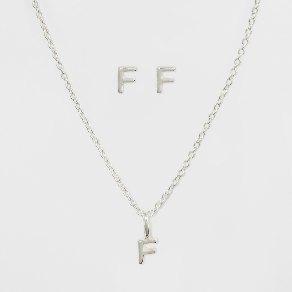 Sterling Silver Initial F Earrings and Necklace Set - A New Day Silver, Girl's, Silver - F