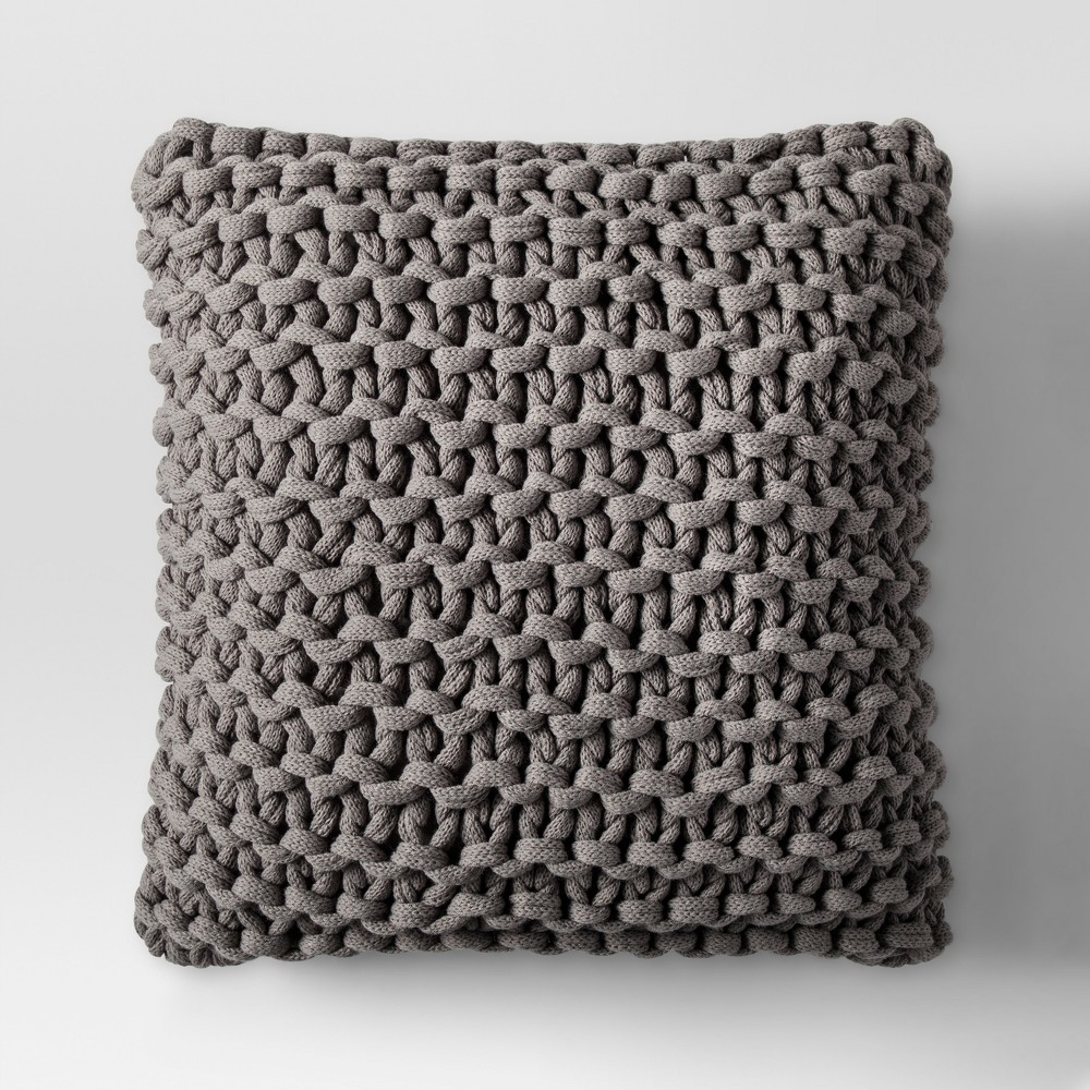 Gray Large Knit Throw Pillow - Project 62