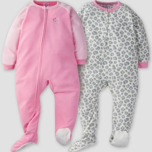 Gerber® Toddler Girls  2pk Leopard Micro Fleece Blanket Sleeper ... d7fe696aa