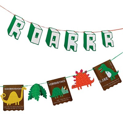 Meri Meri Dinosaur Party Banner – Party Decorations and Accessories – 13.5'