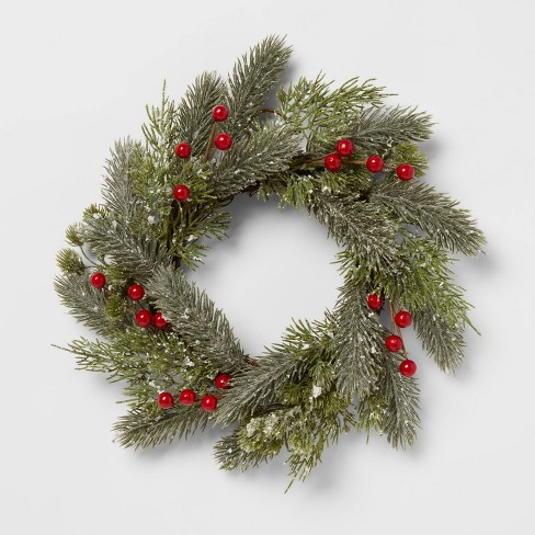"""12"""" Artificial Pine and Berry Wreath - Threshold™ - image 1 of 3"""