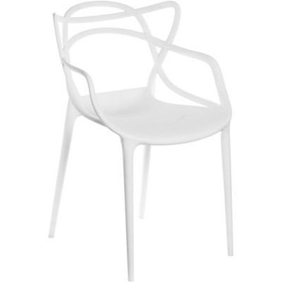 Mid-Century Modern Style Stackable Plastic Molded Arm Chair with Entangled Open Back, White