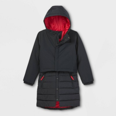 Girls' Mid-Length Puffer Jacket - All in Motion™ Black