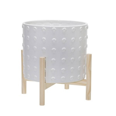 Ceramic Dotted Planter with Wood Stand White - Sagebrook Home