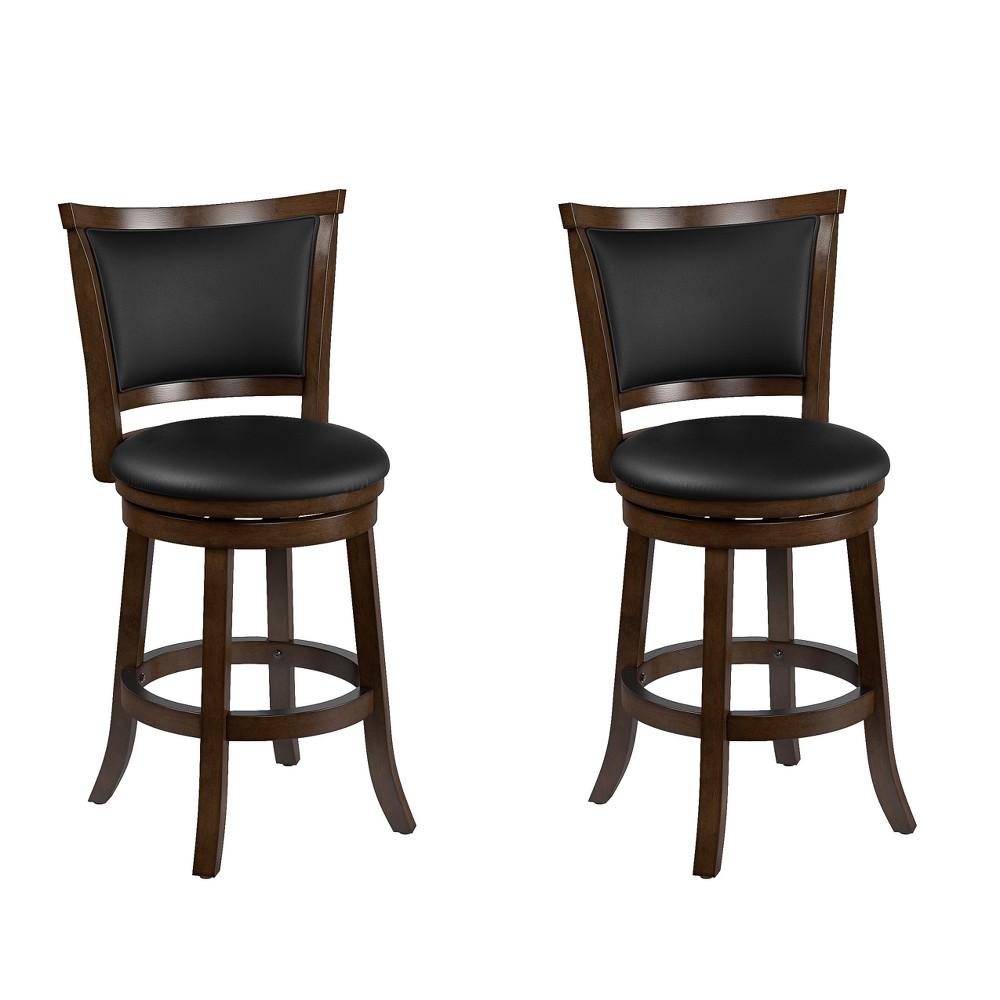 Set of 2 Counter And Bar Stools Black Brown - CorLiving