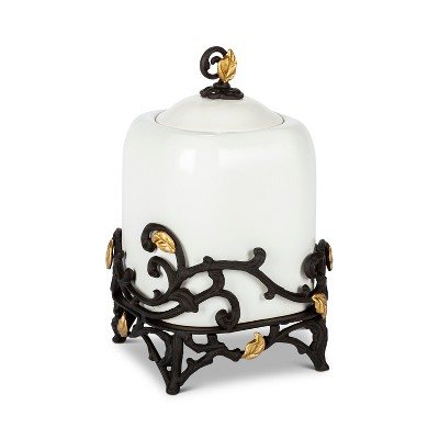 GG Collection 12-Inch Tall Gold Leaf Ceramic Canister with White Stoneware and Espresso Brown Vines and Gold Leaf Accented Base.