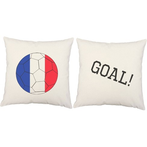 Set Of 2 France Flag Soccer Ball Throw Pillows 18x18 Inch Square White Indoor Outdoor Cushions Roomcraft Target