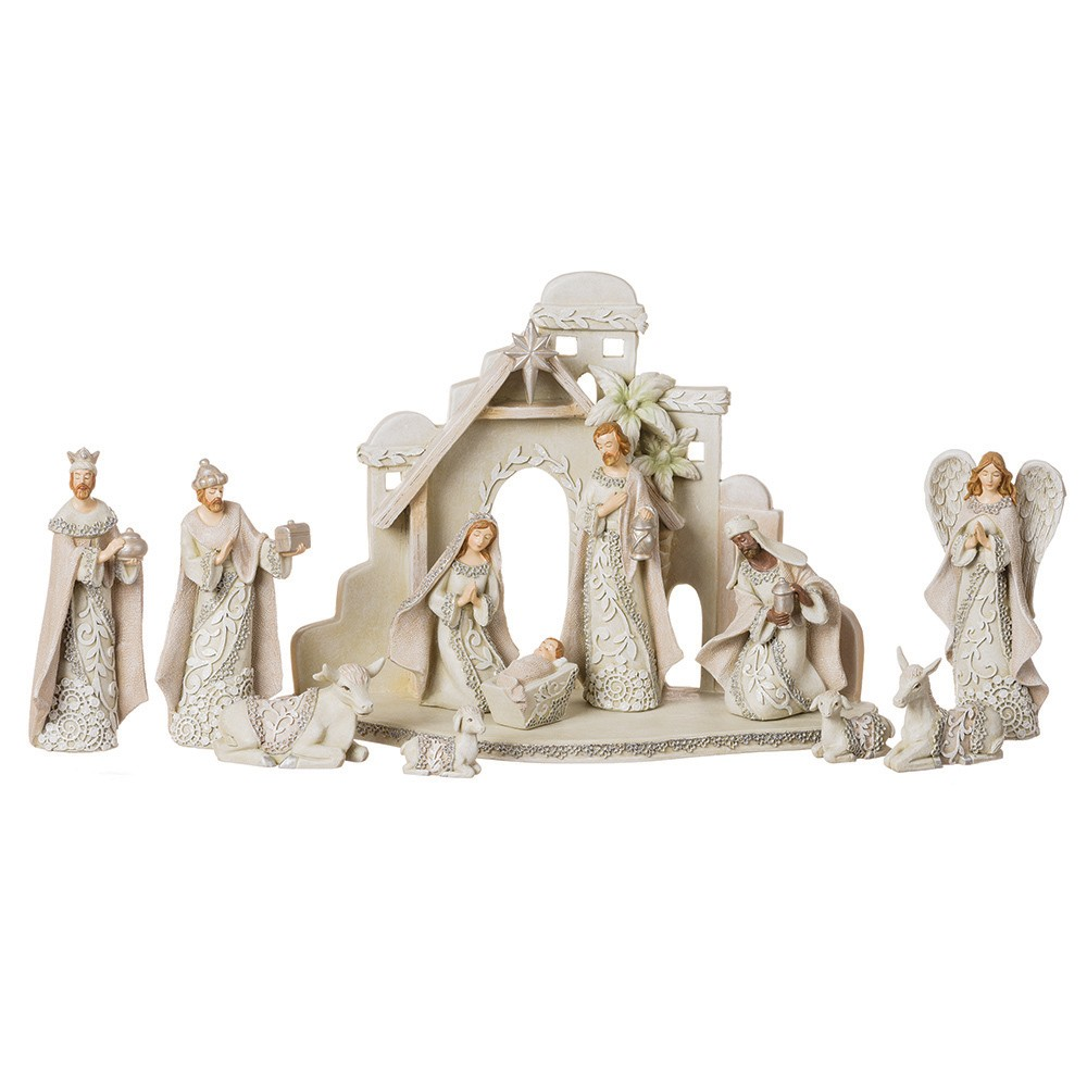 5 12pc Nativity Set with Stable, Multi-Colored