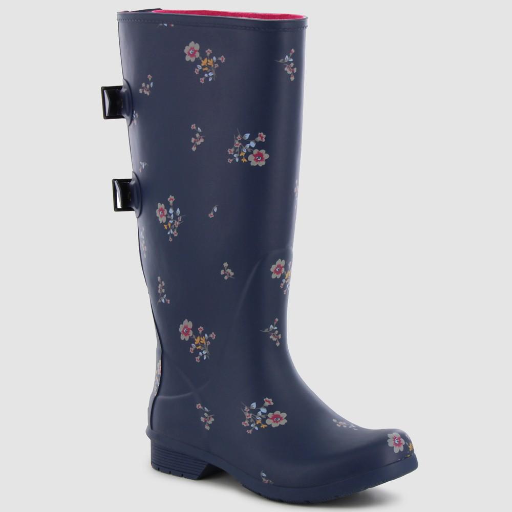 Women's Chooka Versa Floral Shea Matte Rain Boot - Navy 6, Blue