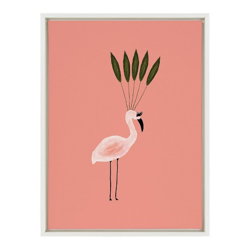 "18"" x 24"" Sylvie Leaf Crown Flamingo Framed Canvas Wall Dcor By Kendra Dandy - Kate and Laurel - image 1 of 4"