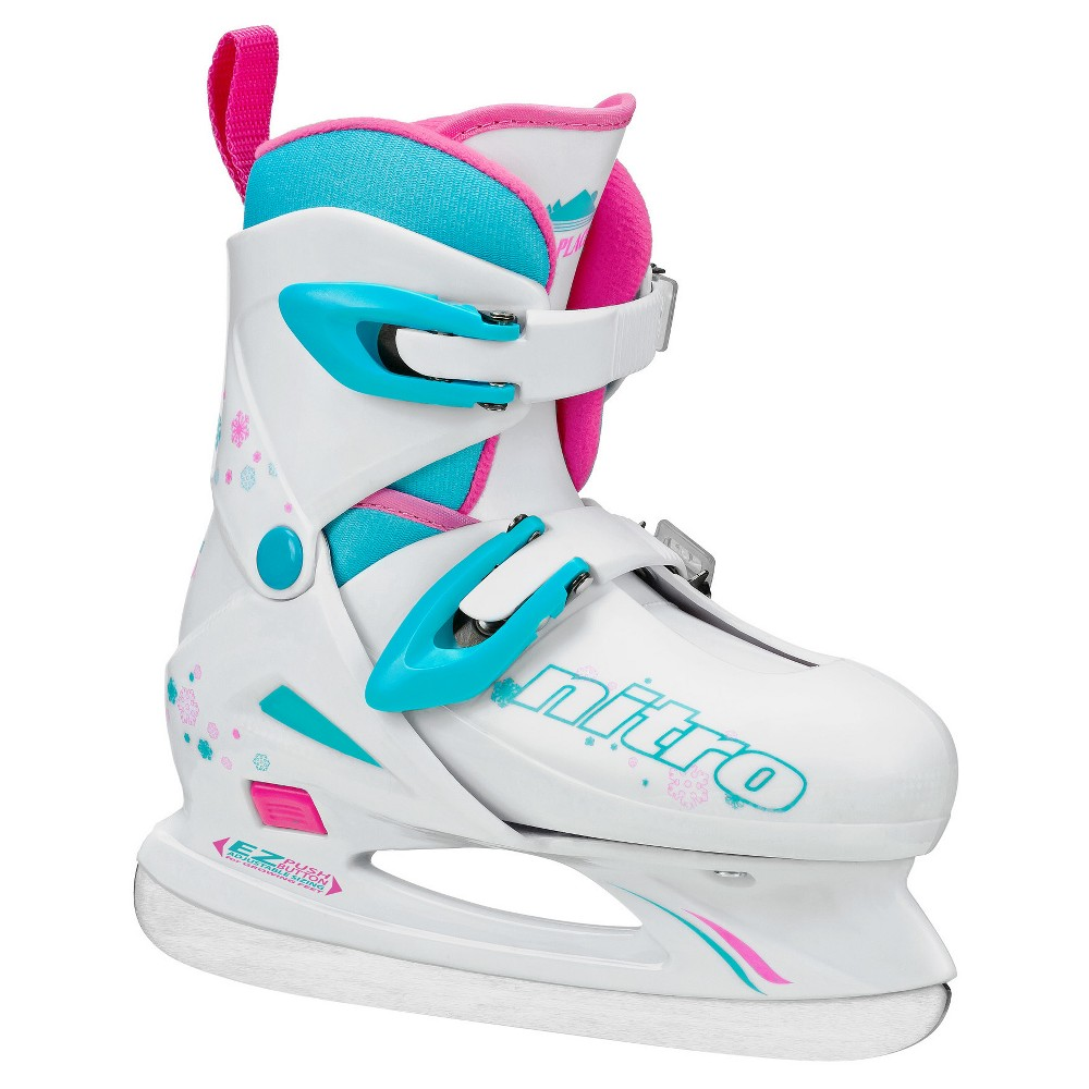Lake Placid Nitro 8.8 Girls' Adjustable Figure Ice Skate - White/Blue (Small), Blue White