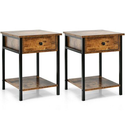 Costway 2PCS Industrial End Side Table Nightstand with Drawer Shelf Rustic Brown