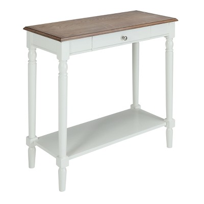 French Country Hall Table with Drawer/Shelf Driftwood/White - Breighton Home