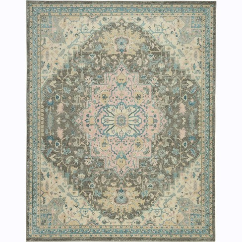 Blue Off White Pink Indoor Area Rug 8