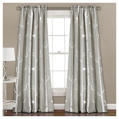 Bird on the Tree Room Darkening Window Curtain Set Gray (52 x84 )- Lush Décor