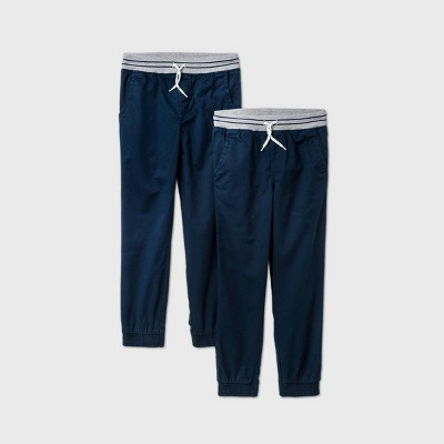 Boys' 2pk Stretch Pull-On Jogger Fit Pants - Cat & Jack™ Navy