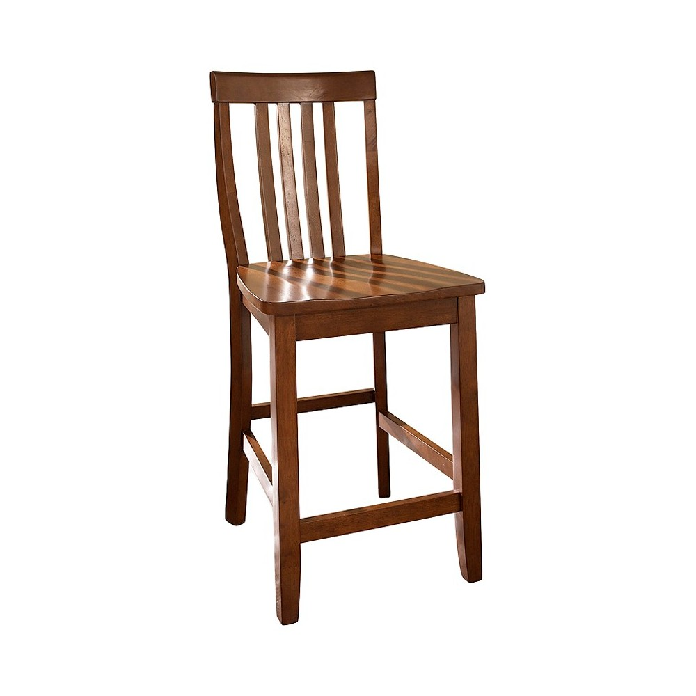 """Image of """"24"""""""" School House Counter Stool - Cherry (Set of Two) - Crosley, Red"""""""