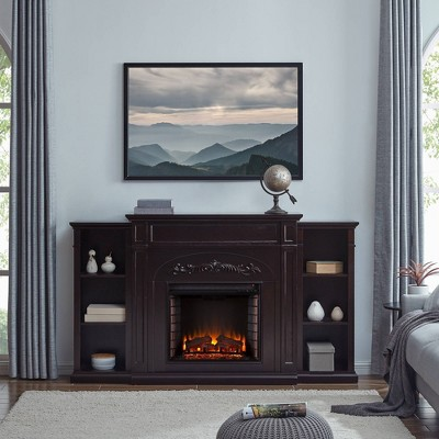 Canterbury Electric Fireplace with Bookcases - Aiden Lane