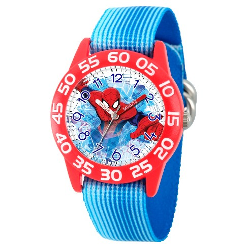 Boys' Marvel's Ultimate Spider-Man Red Plastic Time Teacher Watch - Blue - image 1 of 2