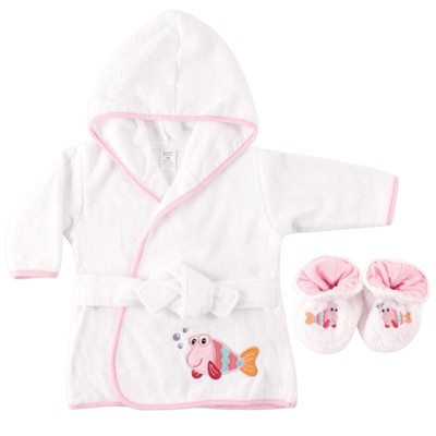 Luvable Friends Baby Girl Cotton Terry Bathrobe, Fish, One Size