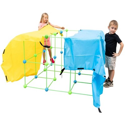Funphix Glow in the Dark Jumbo Indoor and Outdoor Fort Building Construction Toy Play Kit with Poles, Balls, and 4 Long Sheets, 154 pieces