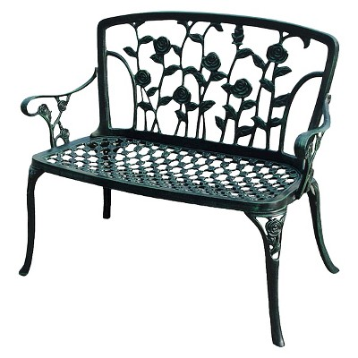 Charmant Saint Kitts Cast Aluminum Patio Bench   Green   Christopher Knight Home