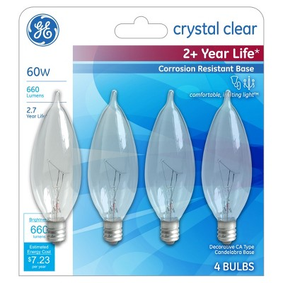 General Electric 4pk 60W Long Life Incandescent Chandelier Light Bulb White