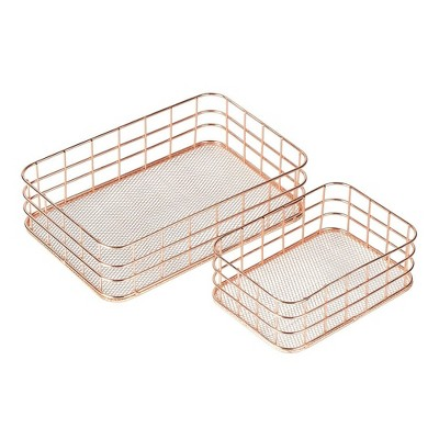 Juvale 2-Set Metal Wire Baskets, Nesting Copper Mesh Desk Drawer Storage Organizer for Cosmetic Stationery, Rose Gold, 2 Sizes