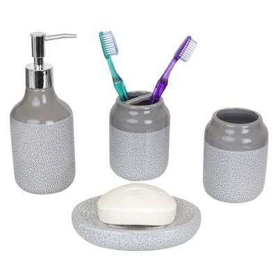 Home Basics Crackle 4 Piece Ceramic Bath Accessory Set, Grey