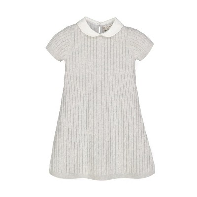 Hope & Henry Girls' Cable Knit Peter Pan Collar Sweater Dress, Infant