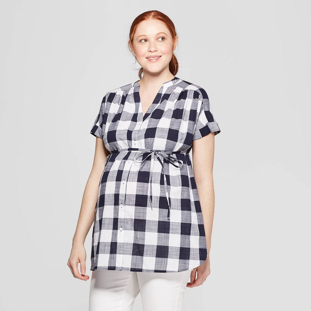 b3aa3328d5f01 Maternity Plaid Dolman Short Sleeve V Neck Top Isabel Maternity by Ingrid  Isabel Navy M Infant Girls Blue