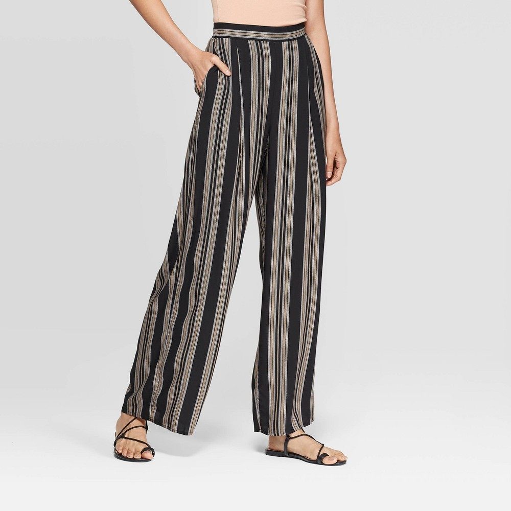 Image of Women's Striped Mid-Rise Wide Leg Pants - Xhilaration Black/Beige S, Size: Small