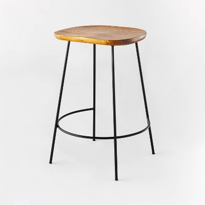 Metal Base Counter Height Stool with Wood Seat Brown - Threshold™ designed with Studio McGee